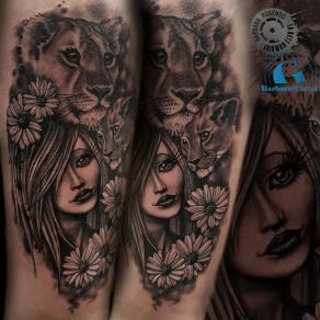 barbara-rosendo-realistic-tattoo-tatouage-realiste-noir-et-gris-black-and-grey-femme-lionne-animaux