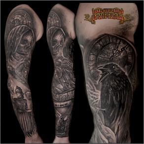 meilleur-tatoueur-paris-pierre-gilles-romieu-tatouage-bras-dark-crane-justice-skull-tattoo