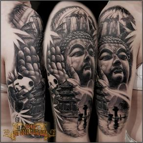 tatoueur-guest-paris-moka-tatouage-composition-bouddhisme-tattoo